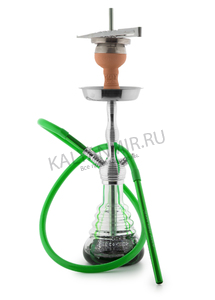Купить Кальян AMY DELUXE 470 Small Rips Silver-Green 50 см + Hot Screen