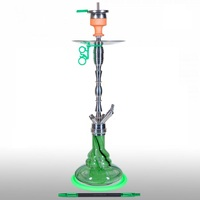 Кальян AMY DELUXE SS08R Hammer Steel Green Click 76 см + Hot Screen