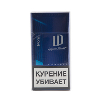"Сигареты MORE by LD Compact Blue 100""s  Смола 7 мг/сиг, Никотин 0,5 мг/сиг, СО 9 мг/сиг."