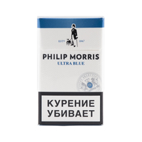Сигареты PHILIP MORRIS Ultra Blue Смола 8 мг/сиг, Никотин 0,6 мг/сиг, СО 9 мг/сиг.